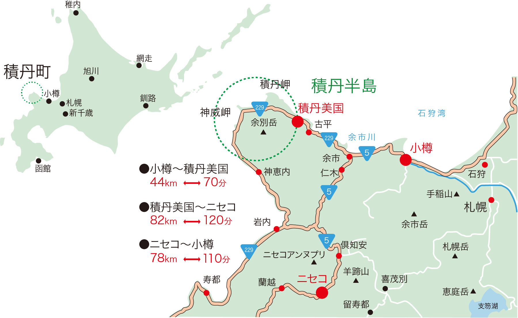 積丹町アクセスマップ